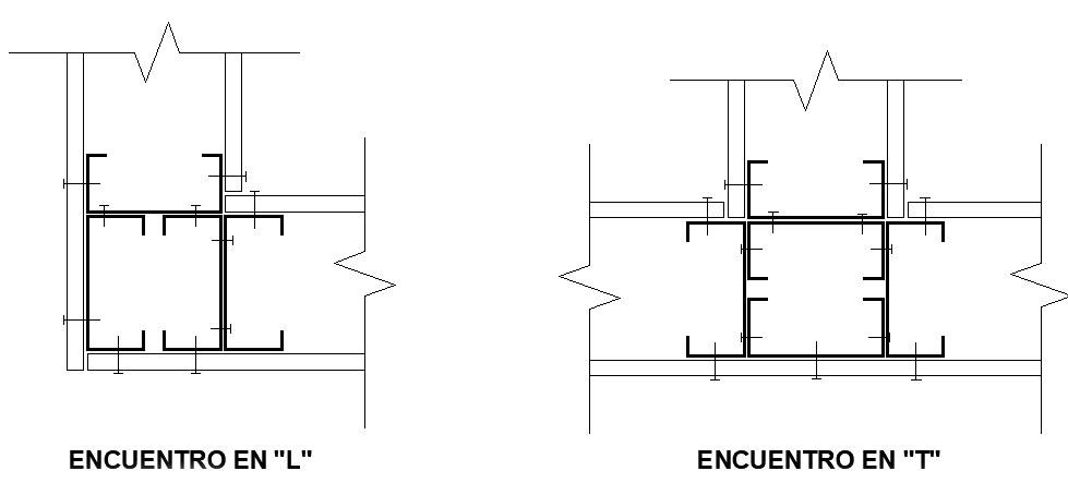encuentros de perfiles L y T steel framing metalcon